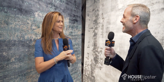 Kathy Ireland Shows Off Safari Dreams Rug Collection with Nourison to Christopher Grubb at LVMKT 2019